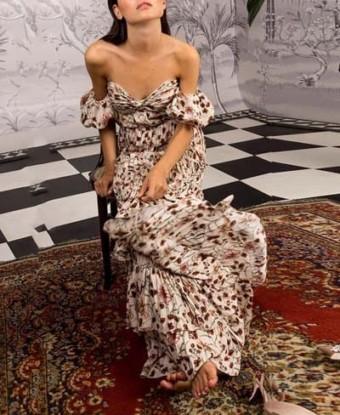 JOHANNA ORTIZ Georgette The Lady Of Shalott Almond Dress