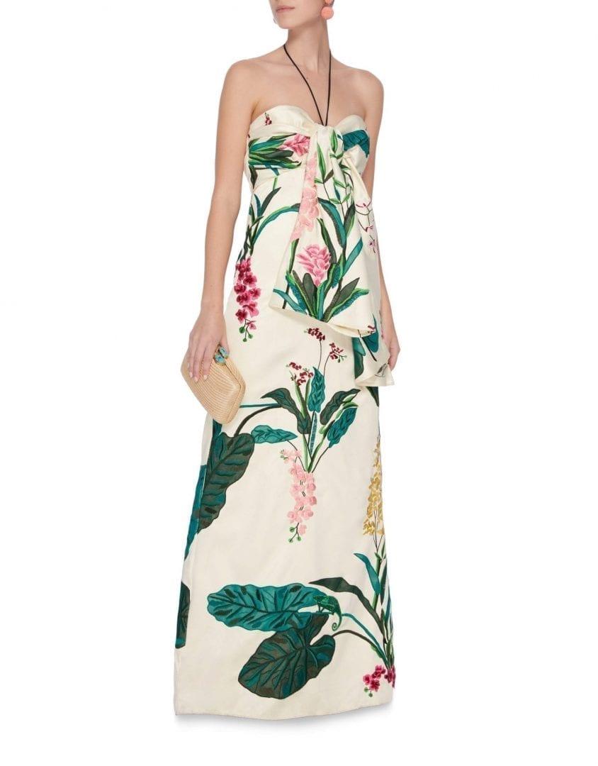 JOHANNA ORTIZ Market Gardens Satin Twill Beige / Floral Printed Dress