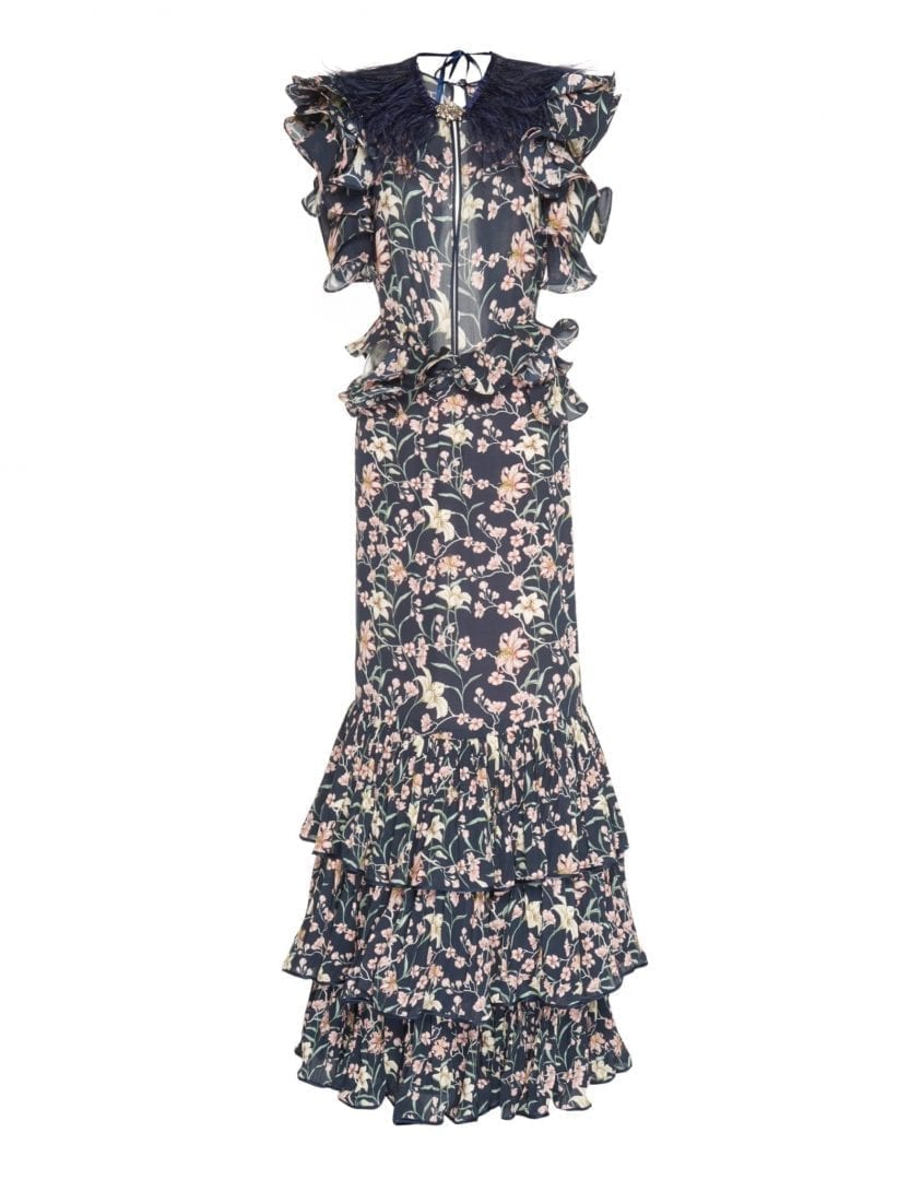 JOHANNA ORTIZ Silk Double Georgette Dark Florals Navy Dress