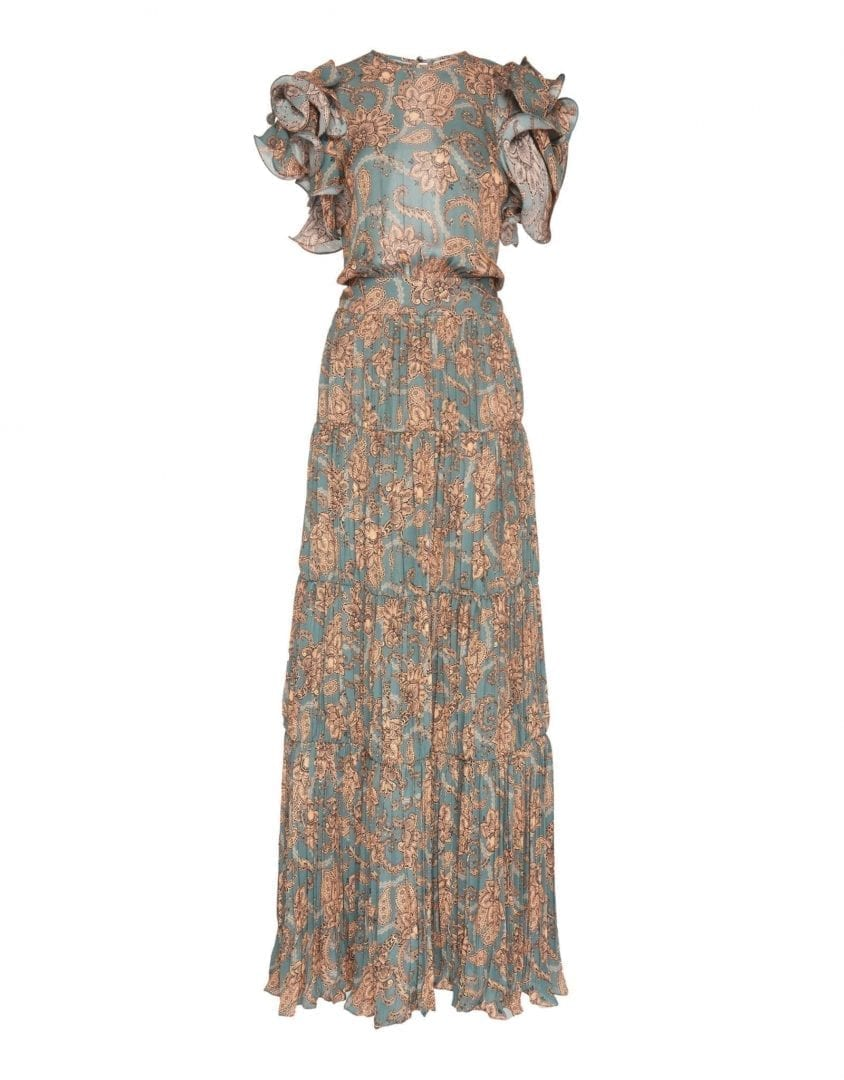 JOHANNA ORTIZ Silk Double Georgette Vintage Vibe Dusk Peach Dress
