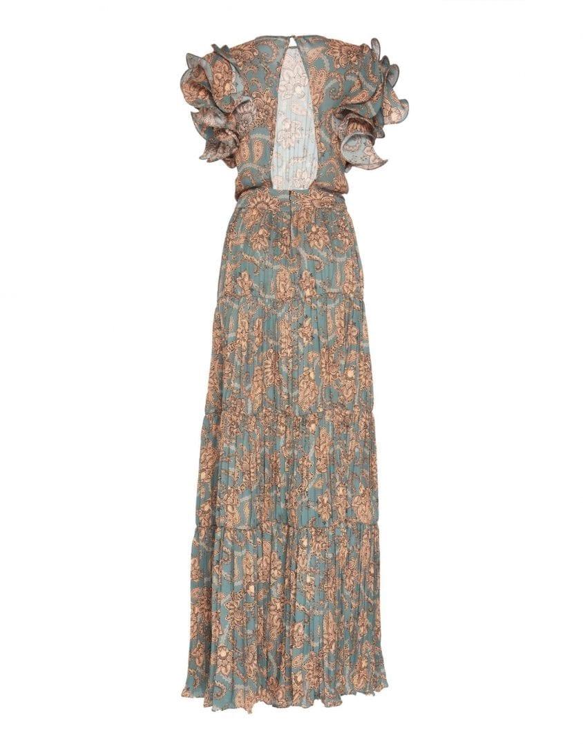 JOHANNA ORTIZ Silk Double Georgette Vintage Vibe Dusk Salmon Dress ...