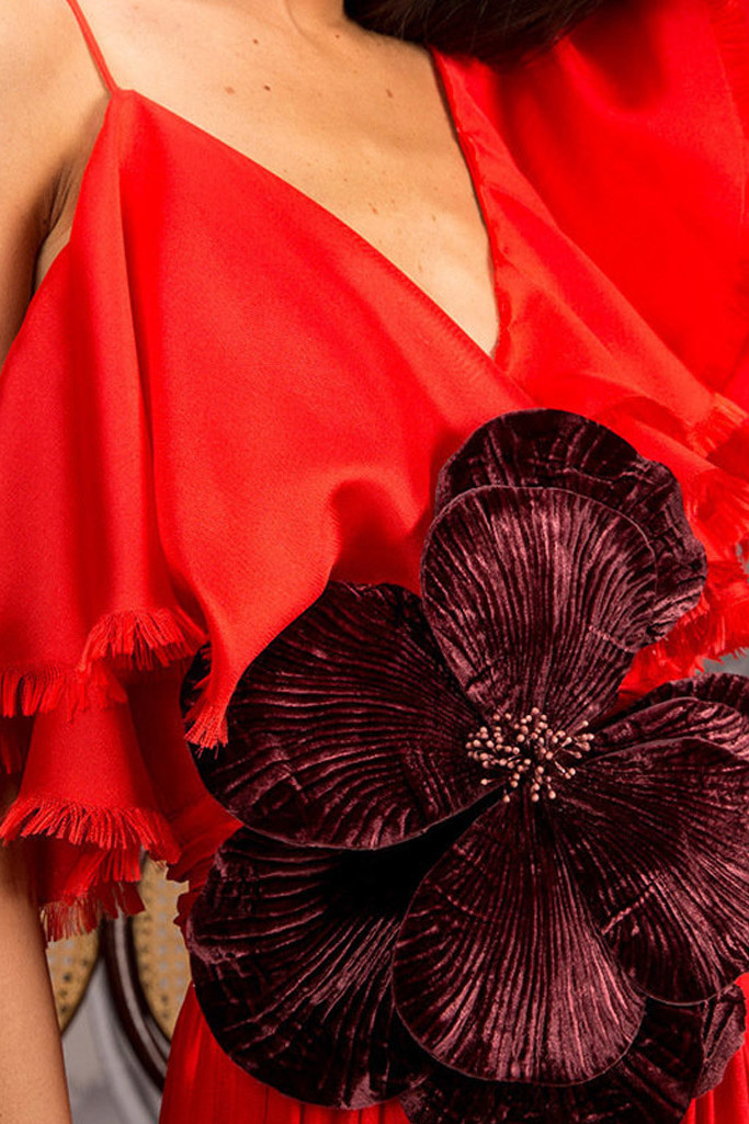 JOHANNA ORTIZ Silk Mesh Noche De Rosas Red Dress