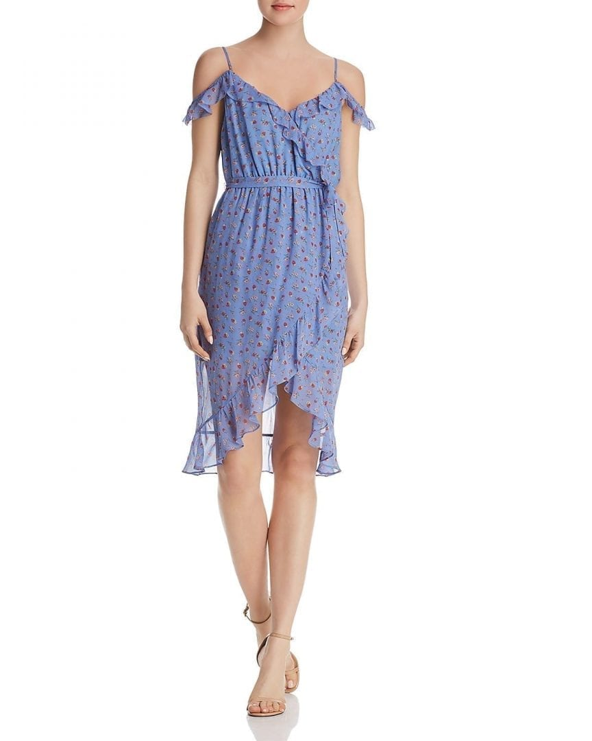 JOIE Dinesh Cold-Shoulder Silk Blueberry Dress