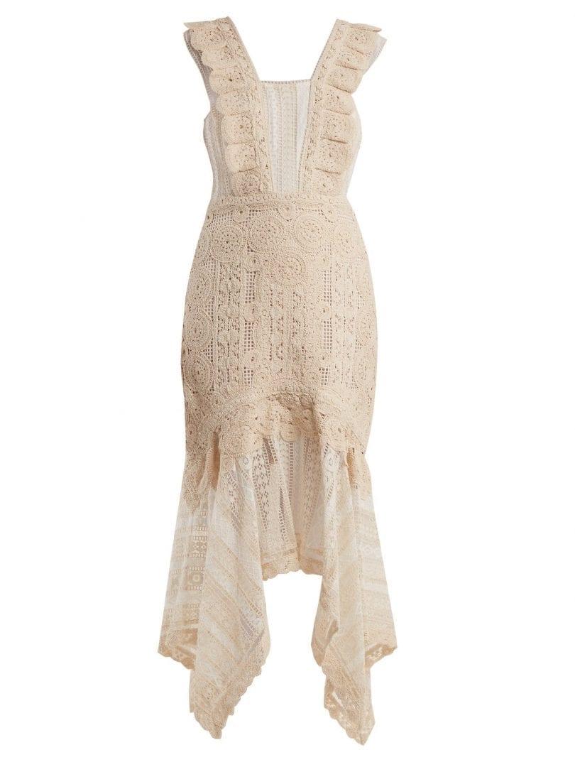 JONATHAN SIMKHAI Handkerchief-hem Cotton Macramé Lace Cream Dress