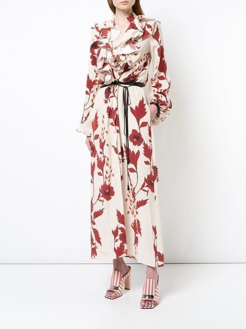 JOHANNA ORTIZ Floral Ruffle Maxi Red Dress