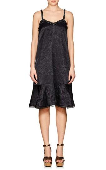 KOCHE Bead-Embellished Crinkled Satin Slip Black Dress