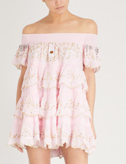 LAS NOCHES IBIZA Formentera Beso Off-the-shoulder Cotton Light Pink Dress