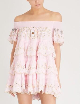LAS NOCHES IBIZA Formentera Beso Off-the-shoulder Cotton Light Pink Dress