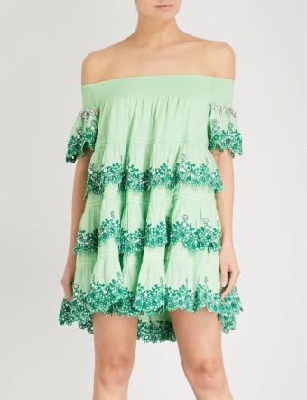LAS NOCHES IBIZA Formentera Off-the-shoulder Cotton Green Dress