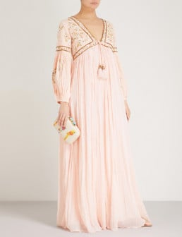 LAS NOCHES IBIZA Tiger Pearl Embellished Cotton-gauze Maxi Peach Dress