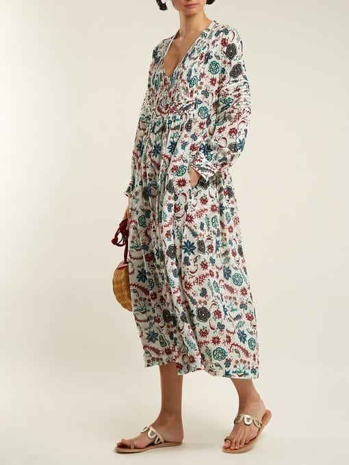 LE SIRENUSE, POSITANO Callista Parsley-print Pleated Cotton White Dress