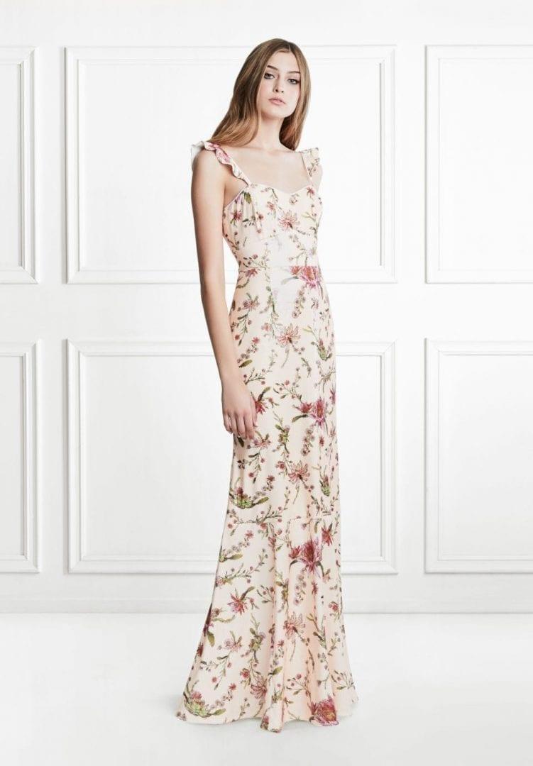 LEOLA Cactus Flower Sequin Multicolored / Cream Gown - We Select Dresses