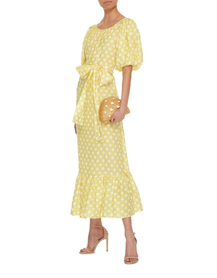 LISA MARIE FERNANDEZ Linen Belted Prairie Linen Midi Yellow Dress