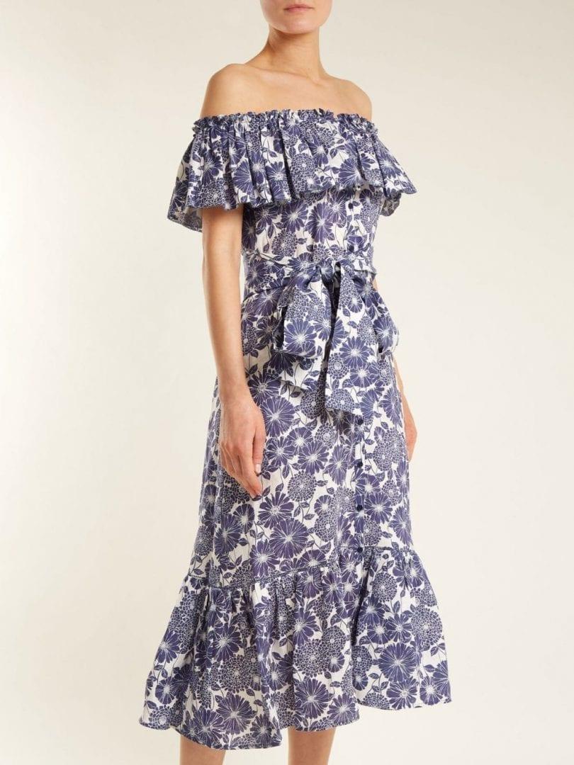 LISA MARIE FERNANDEZ Mira Cotton Admiral Blue / Floral Printed Dress