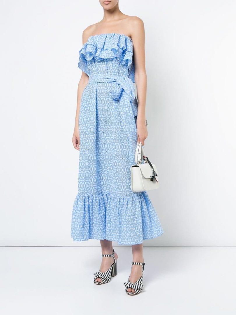 LISA MARIE FERNANDEZ Sabine Ruffled Eyelet Light Blue Dress