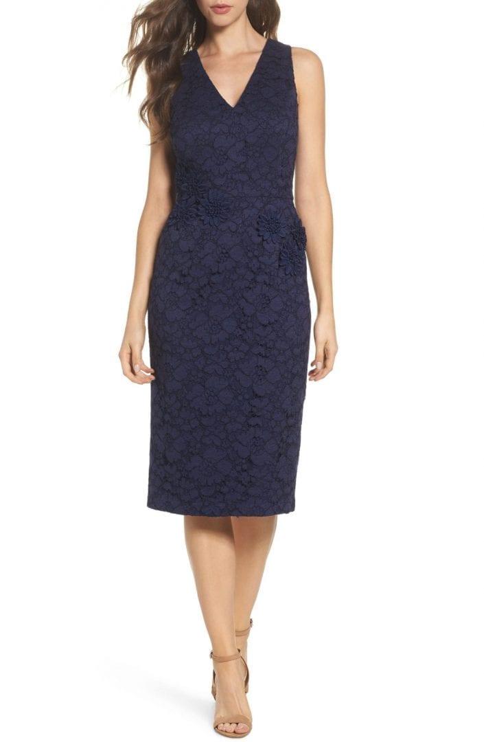 fdb946347bd4 MAGGY LONDON Floral Lace Midi Navy Blue Dress - We Select Dresses