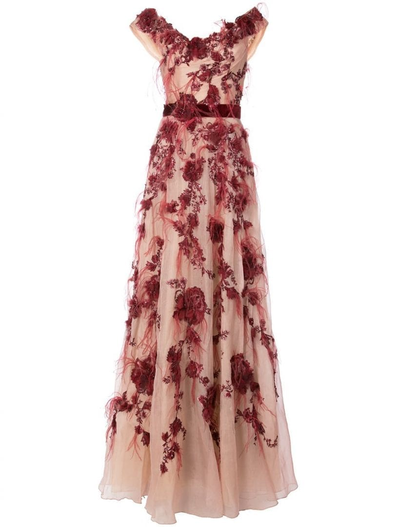MARCHESA Bardot Floral Pink Gown - We Select Dresses 039a4e338