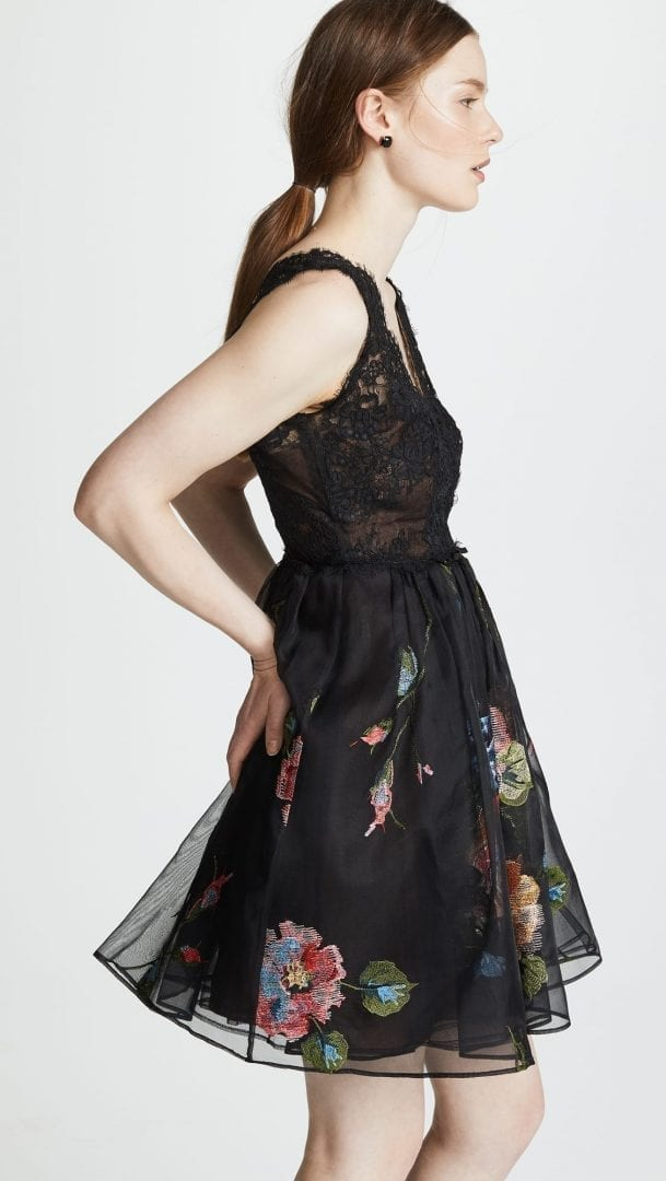 Marchesa Notte Lace Bodice With Embroidered Tail Black Dress