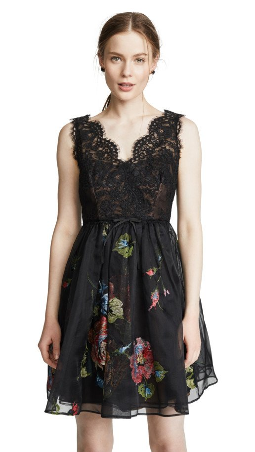 MARCHESA NOTTE Lace Bodice With Embroidered Cocktail Black Dress
