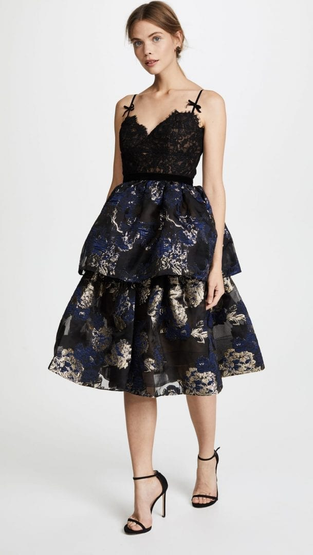 d95384c884 MARCHESA NOTTE Three Tiered Cocktail Black Dress - We Select Dresses
