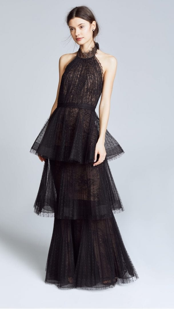 MARCHESA NOTTE Tiered Halter Black Gown - We Select Dresses