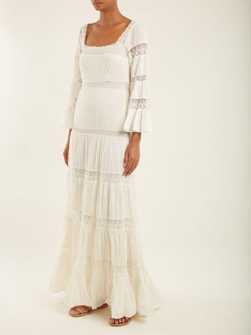 MES DEMOISELLES Havilland Lace Insert Tiered Cotton Voile Ivory Dress