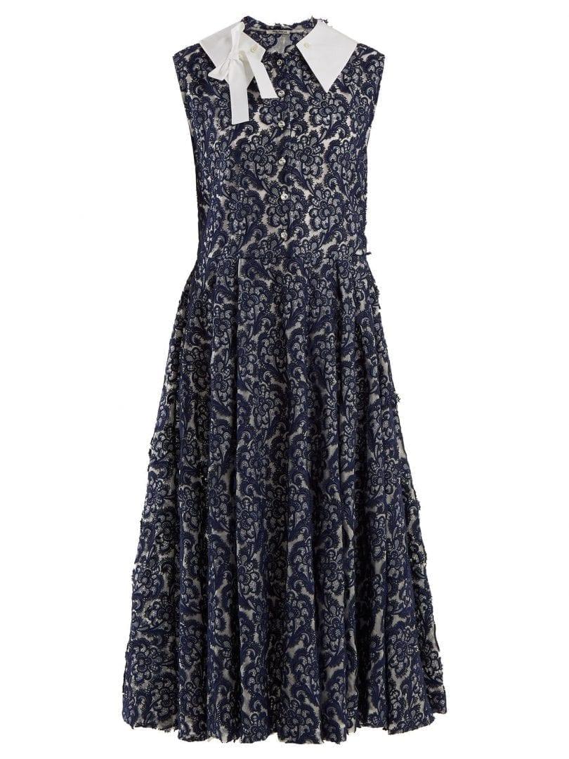 Miu Miu Contrast Collar Floral Lace Navy Blue Dress We