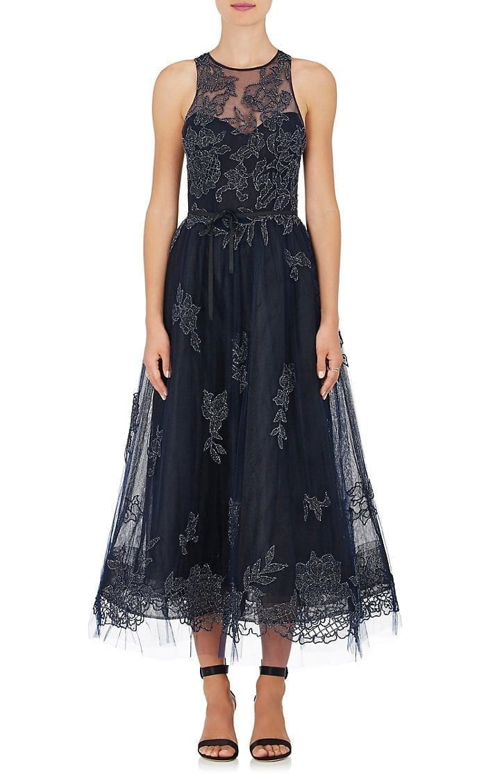 MONIQUE LHUILLIER Embellished Tulle Sleeveless Navy Gown