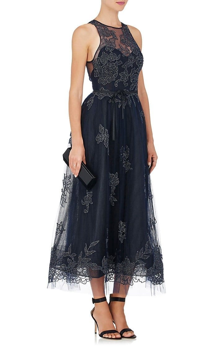 MONIQUE LHUILLIER Embellished Tulle Sleeveless Navy Blue Gown - We ...
