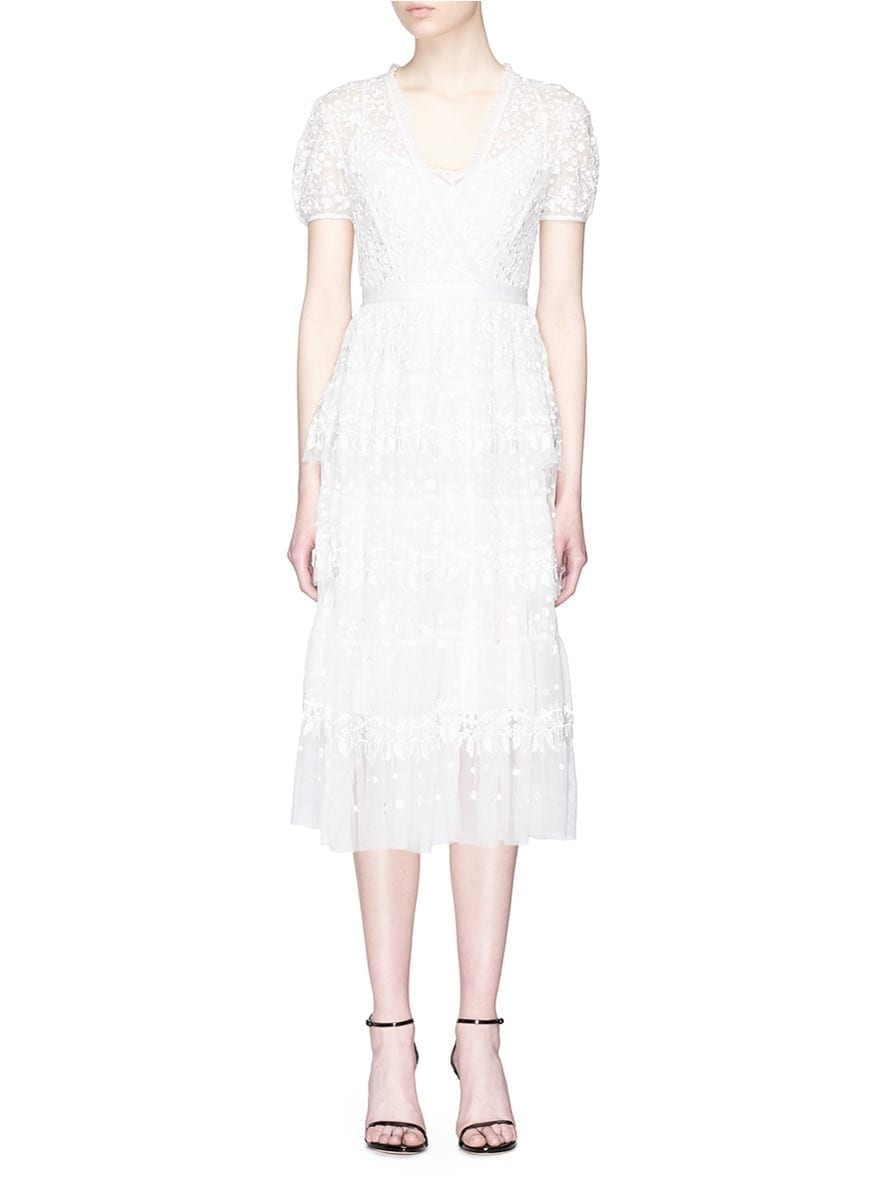 NEEDLE & THREAD Floral Embroidered Ruffle Tulle White Dress