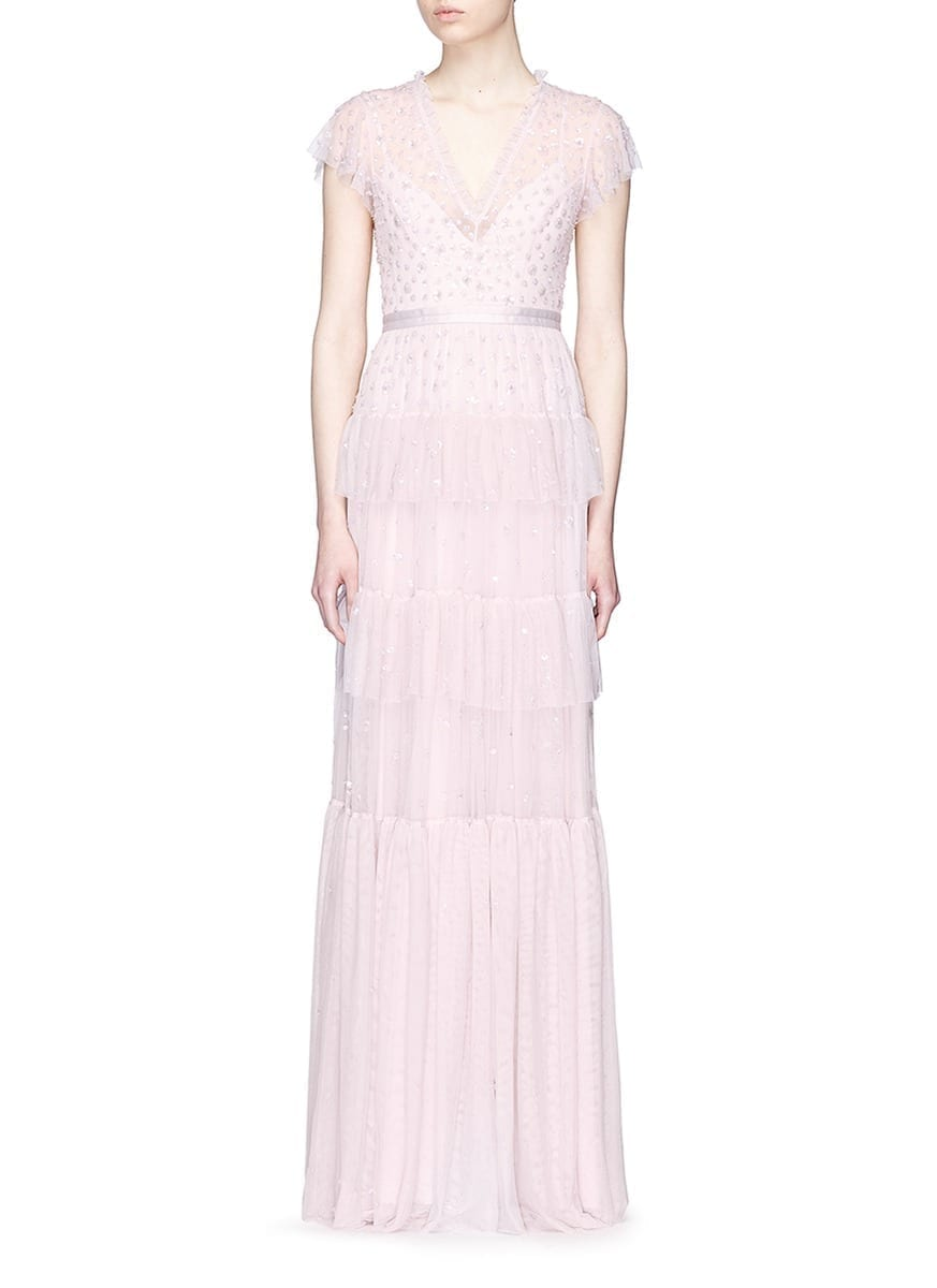 NEEDLE & THREAD 'Mirage' Floral Embellished Ruffle Tulle Lilac Gown