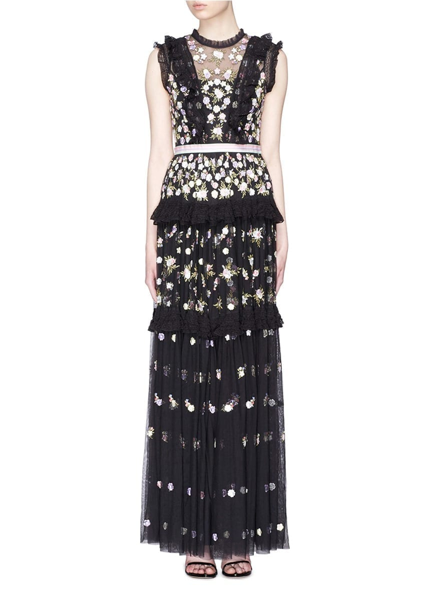 NEEDLE & THREAD 'Prism Ditsy' Floral Embroidered Ruffle Tulle Black Gown