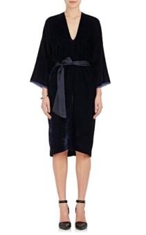 NILI LOTAN Rochelle Velvet Belted Tunic Navy Dress