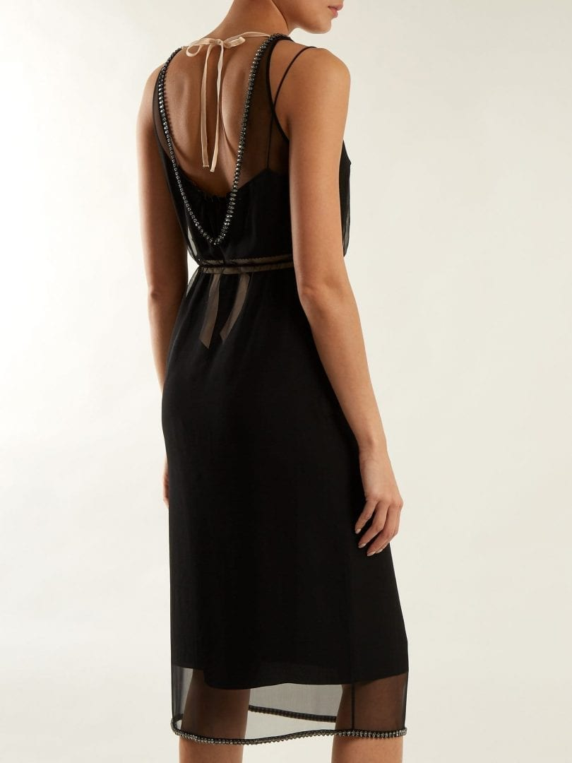 NO. 21 Crystal Embellished Sheer-silk Chiffon Black Dress - We ... f5e75cbaf
