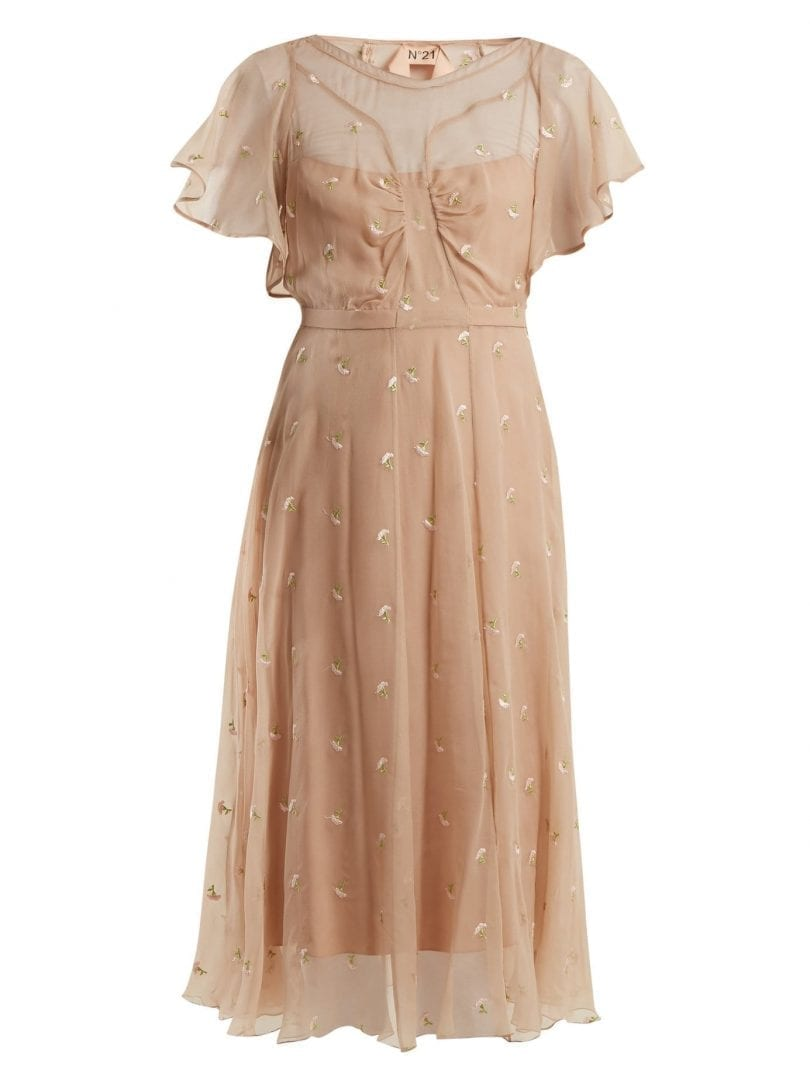 NO. 21 Floral Embroidered Chiffon Beige Dress - We Select Dresses