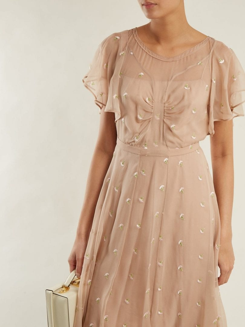 No 21 Floral Embroidered Chiffon Beige Dress We Select