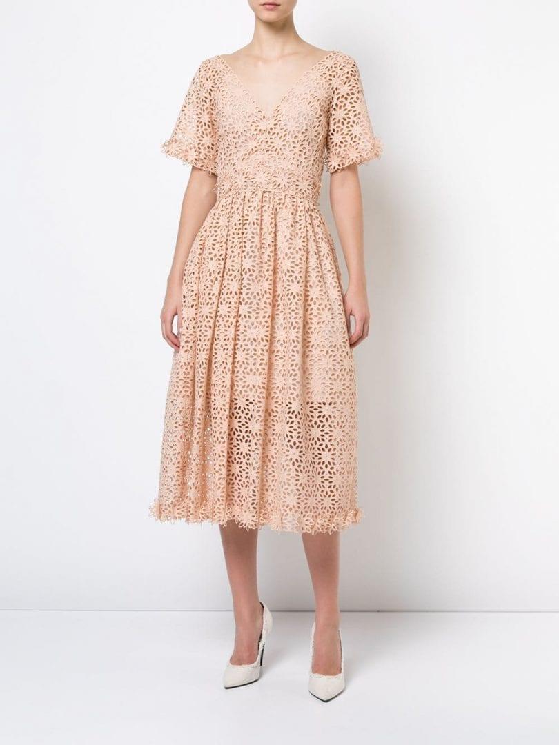 ff6271690a5 OSCAR DE LA RENTA Cutout Floral Flared Blush Pink Dress - We Select ...