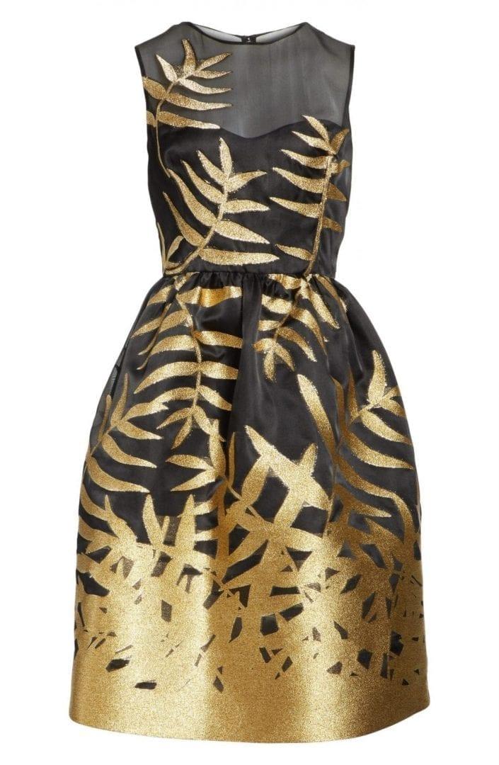 Oscar De La A Glitter Fil Coupé Black Gold Dress