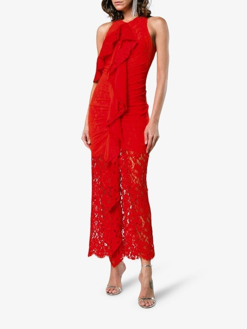 PROENZA SCHOULER Corded Lace Red Dress