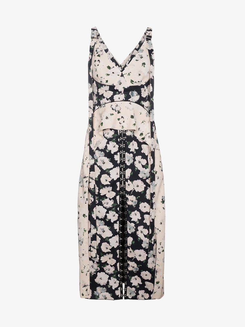 negro un y cierres floral ganchos vestido Schouler Proenza seda ojos con de de qp00z6