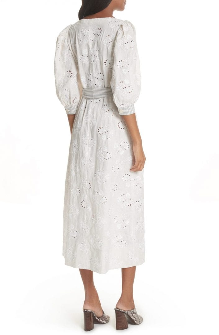 Rebecca Taylor Garden Eyelet Midi Vanilla Milk Dress