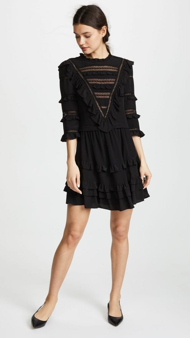 REBECCA TAYLOR Long Sleeve Silk & Lace Black Dress - We Select Dresses
