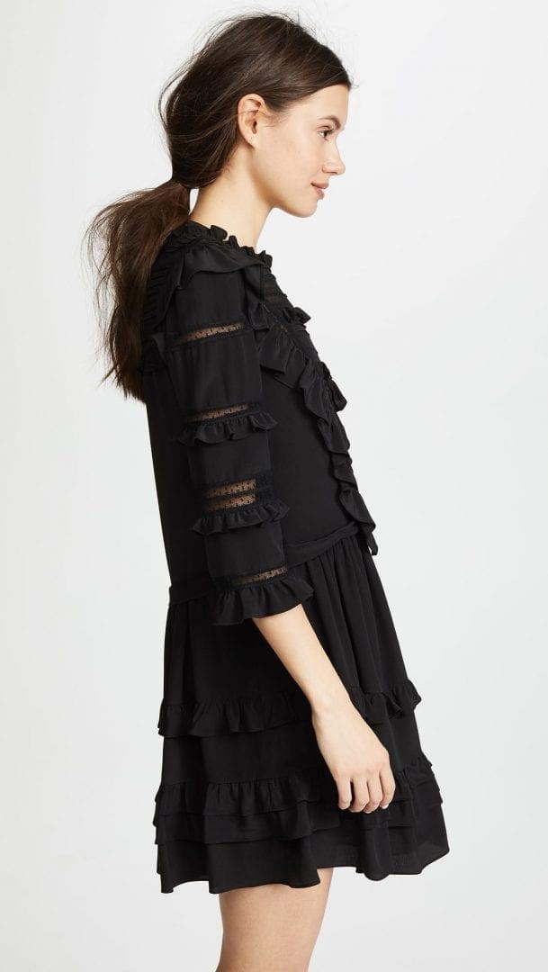 Rebecca Taylor Long Sleeve Silk Lace Black Dress