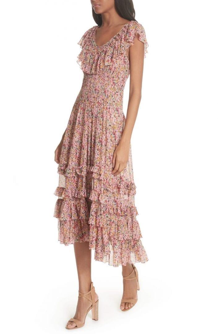 REBECCA TAYLOR Margo Floral Ruffled Midi Multi Combo Dress - We ...