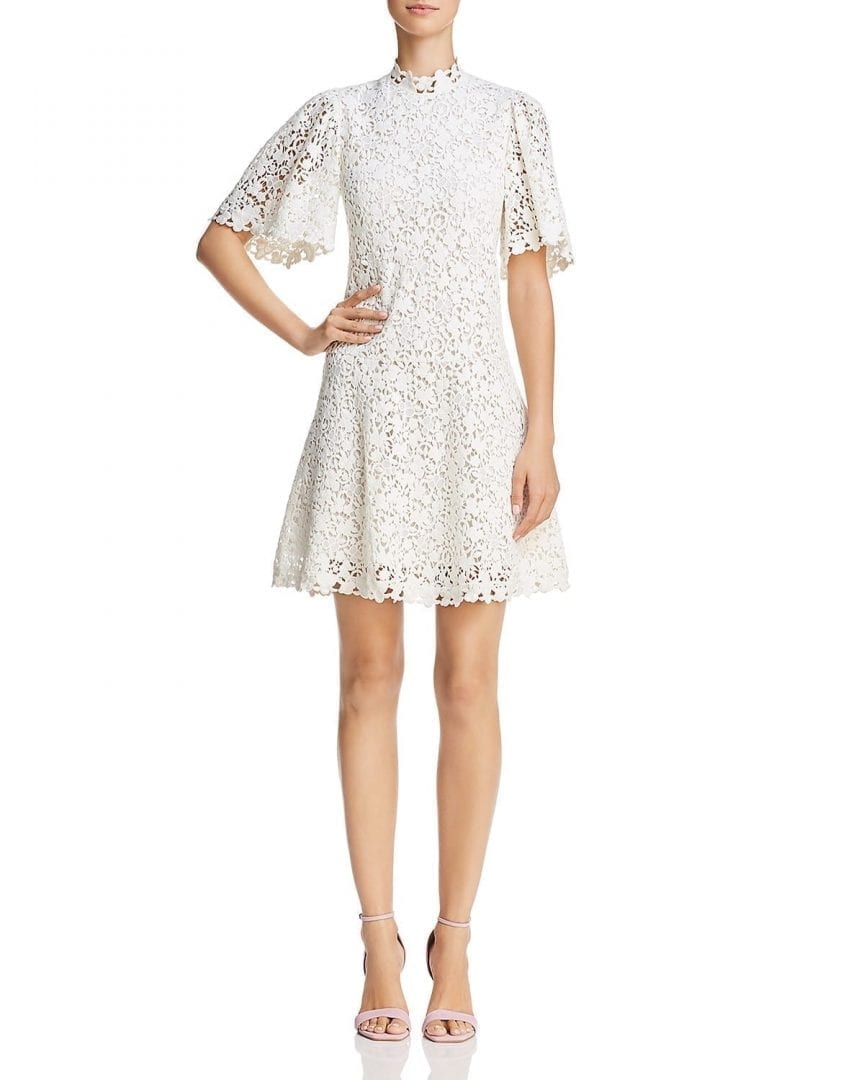 REBECCA TAYLOR Mock Neck Lace Snow Dress