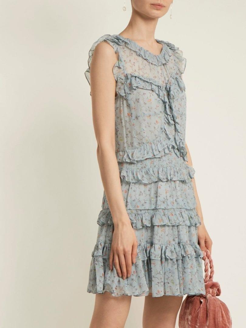REBECCA TAYLOR Ruffle Trimmed Silk Chiffon Duck Egg Blue / Floral Printed Dress