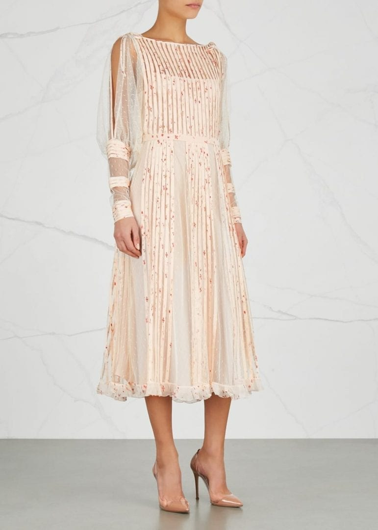 RED VALENTINO Chiffon And Point D\'esprit Midi Blush / Floral Printed ...