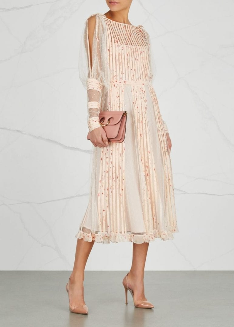 7ce17df9e5c RED VALENTINO Chiffon And Point D esprit Midi Blush   Floral Printed Dress