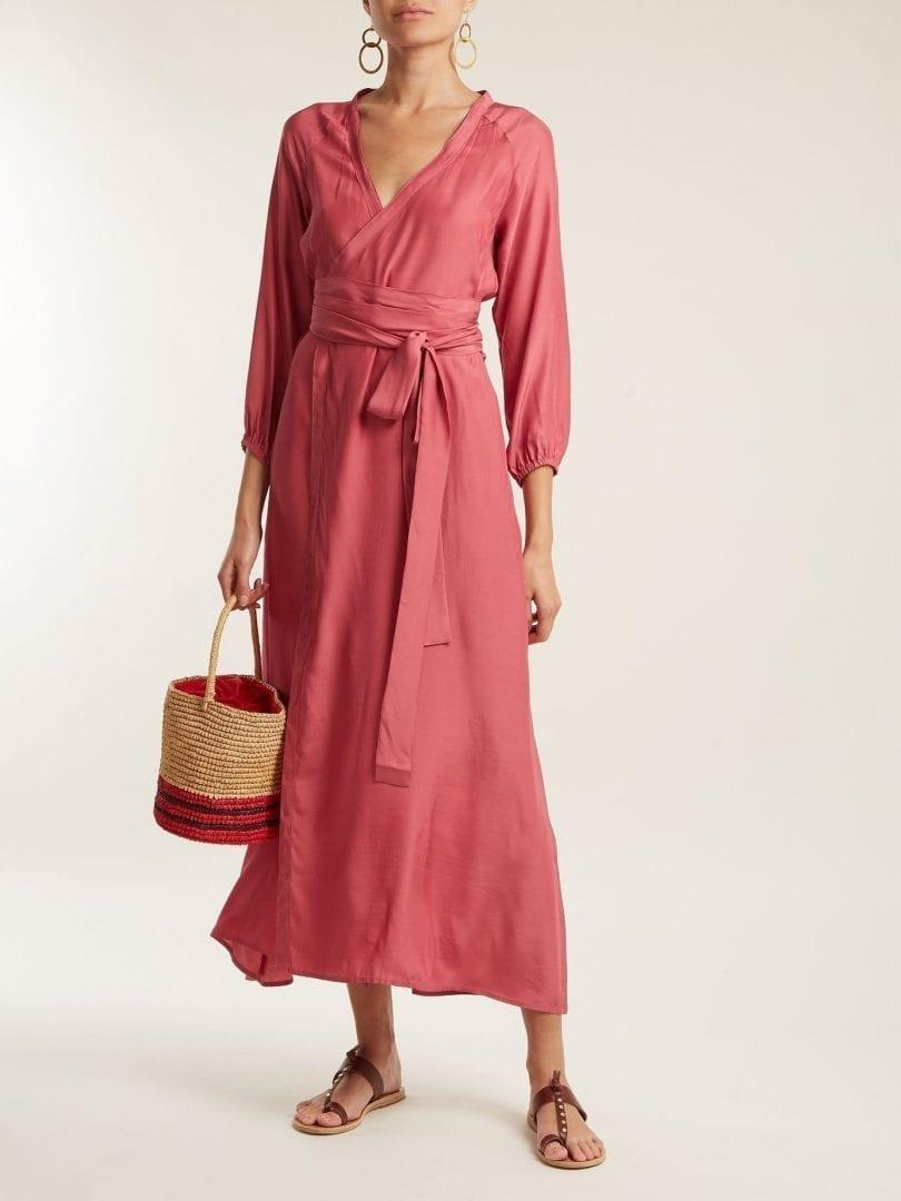2c4a29936eae RHODE RESORT Jagger Silk Wrap Tropical Pink Dress - We Select Dresses