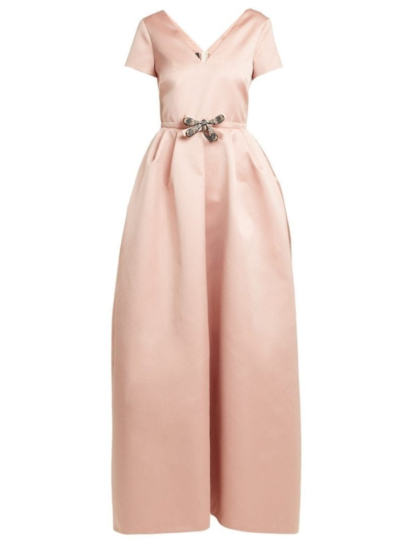 ROCHAS Dragonfly Appliqué V Neck Duchess Satin Rose Pink Gown